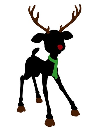 rudolph the red nosed reindeer: An illustration silhouette of rudolph the red nosed reindeer on a white background Stock Photo