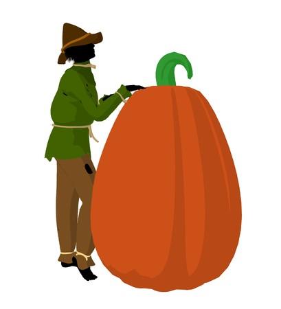 Halloween scarecrow next to a pumpkin silhouette illustration on a white background Zdjęcie Seryjne