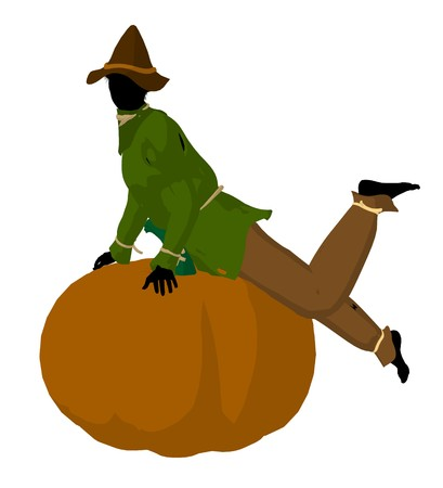 Halloween scarecrow sitting on a pumpkin silhouette illustration on a white background
