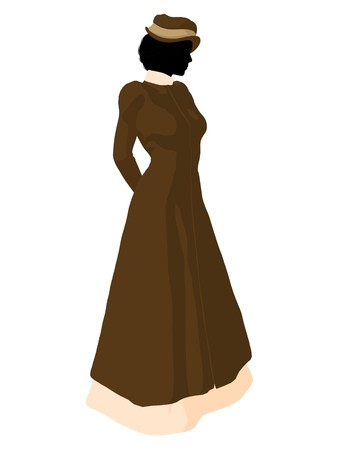 respectable: Victorian woman art illustration silhouette on a white background Stock Photo