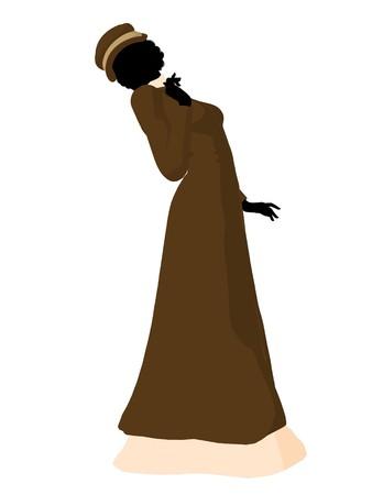 courteous: Victorian woman art illustration silhouette on a white background Stock Photo