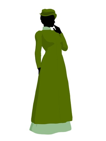 respectable: African american victorian woman art illustration silhouette on a white background