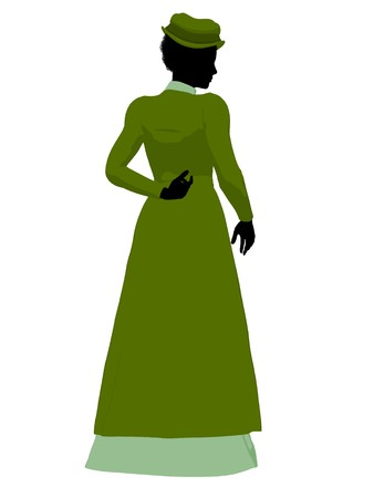African american victorian woman art illustration silhouette on a white background Stock Illustration - 7655223
