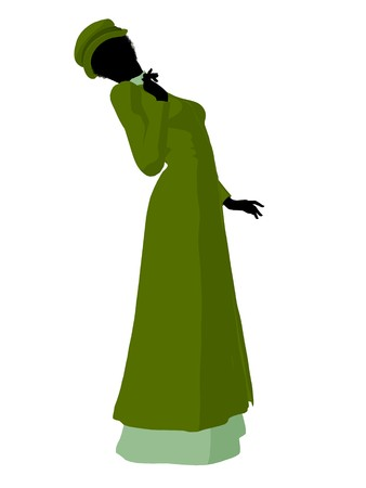 african american silhouette: African american victorian woman art illustration silhouette on a white background