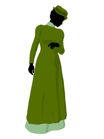 courteous: African american victorian woman art illustration silhouette on a white background