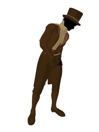 respectable: Victorian man art illustration silhouette on a white background