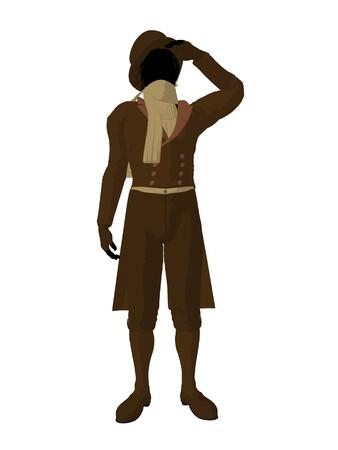 courteous: Victorian man art illustration silhouette on a white background