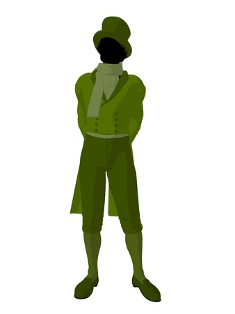 African american victorian man art illustration silhouette on a white background Stock Illustration - 7655284