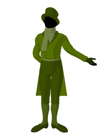 African american victorian man art illustration silhouette on a white background Stock Illustration - 7655529