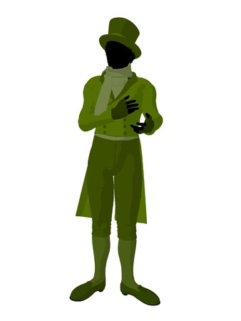 African american victorian man art illustration silhouette on a white background Stock Illustration - 7655496