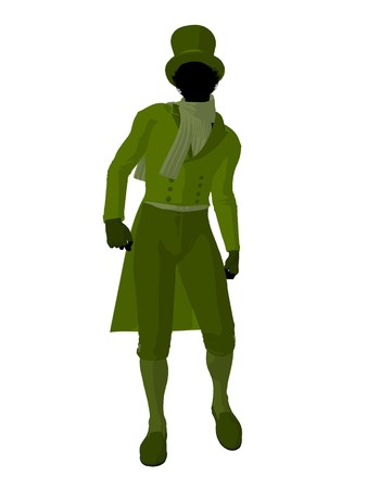 African american victorian man art illustration silhouette on a white background Stock Illustration - 7655513