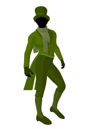 courteous: African american victorian man art illustration silhouette on a white background