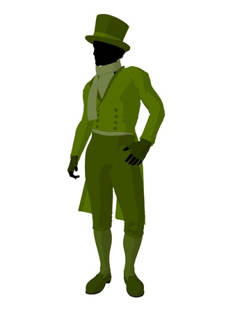 African american victorian man art illustration silhouette on a white background Stock Illustration - 7655501