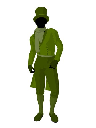 African american victorian man art illustration silhouette on a white background Stock Illustration - 7655498