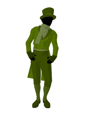African american victorian man art illustration silhouette on a white background Stock Illustration - 7655596