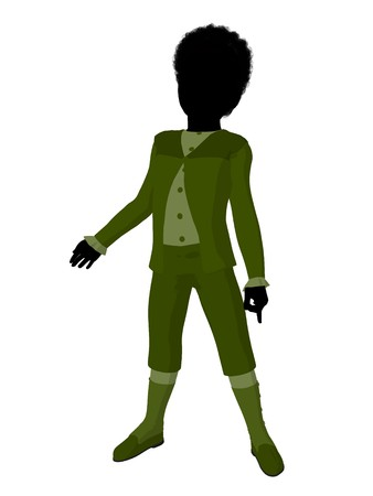 courteous: African american victorian boy silhouette on a white background