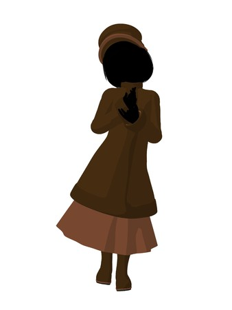 courteous: Victorian girl silhouette on a white background