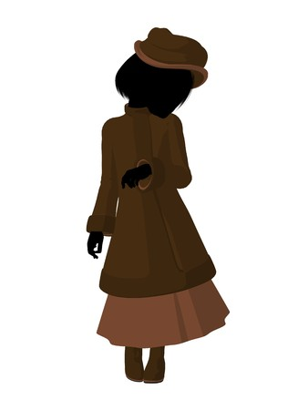 Victorian girl silhouette on a white background