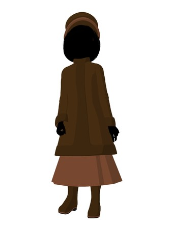 respectable: Victorian girl silhouette on a white background