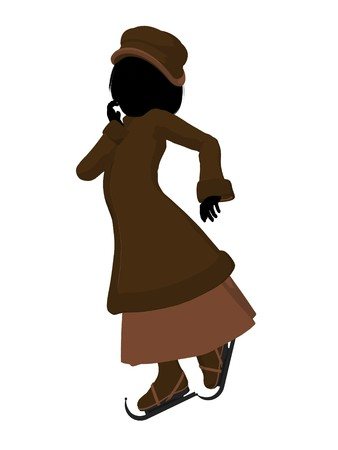 courteous: Victorian girl on ice skates silhouette on a white background