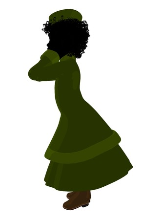 c4bb5b62f5d African american victorian girl art illustration silhouette on a white  background Stock Illustration - 7655488