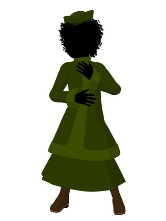 courteous: African american victorian girl art illustration silhouette on a white background Stock Photo