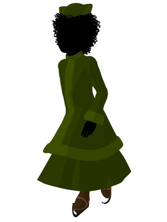 African american victorian girl on ice skates silhouette on a white background Stock Photo - 7655673