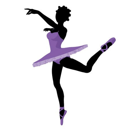 ballerina silhouette: African american ballerina silhouette on a white background