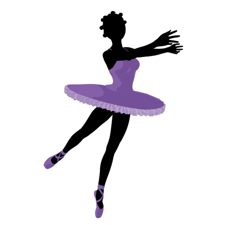 african american silhouette: African american ballerina silhouette on a white background