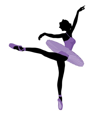 theatrical performance: African american ballerina silhouette on a white background