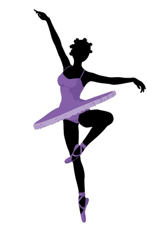 African american ballerina silhouette on a white background Zdjęcie Seryjne - 7730428