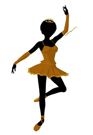 flexible woman: African american ballerina silhouette on a white background