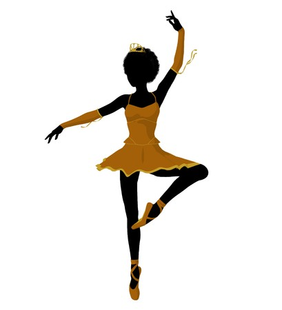 African american ballerina silhouette on a white background