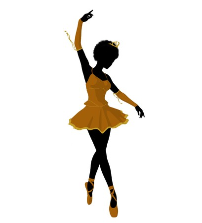 African american ballerina silhouette on a white background Zdjęcie Seryjne - 7730622