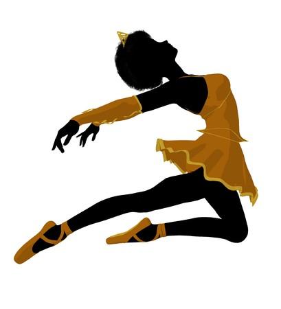 African american ballerina silhouet op een witte achtergrond Stockfoto