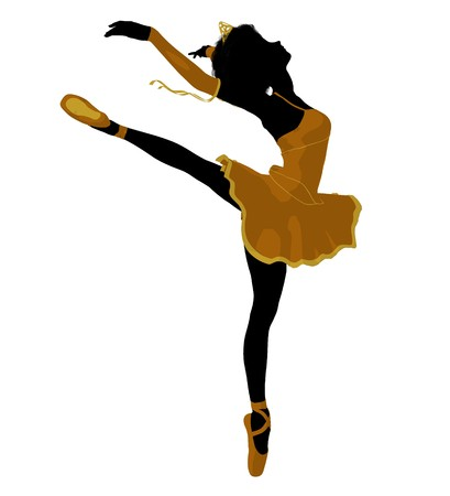 African american ballerina silhouette on a white background Stock fotó - 7730727