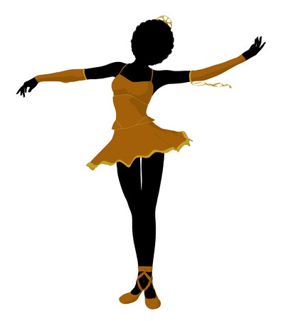 ballet slippers: African american ballerina silhouette on a white background