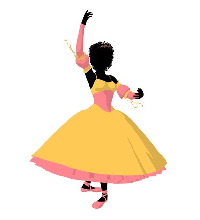 prima donna: African american ballerina silhouette on a white background