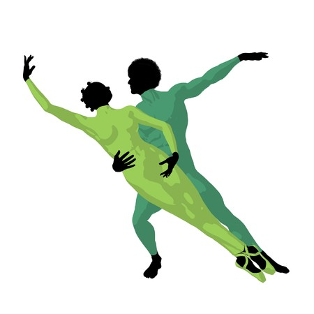 prima donna: African american ballet couple silhouette on a white background