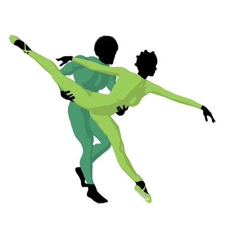 african american silhouette: African american ballet couple silhouette on a white background