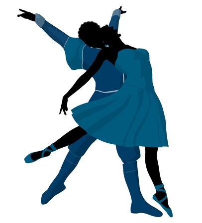 African american ballet couple silhouette on a white background Stock Photo - 7730957