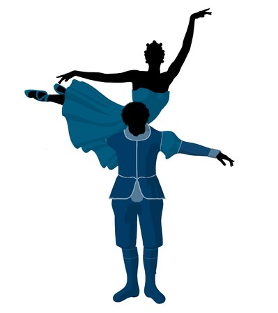 African american ballet couple silhouette on a white background photo
