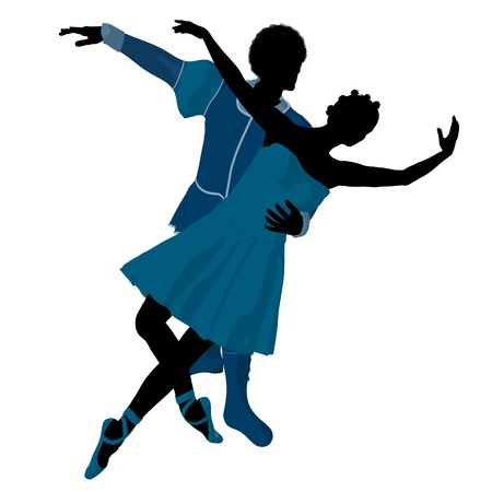 theatrical performance: African american ballet couple silhouette on a white background
