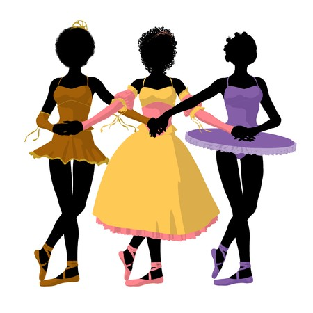 young girl: Three african american ballerinas holding hands on a white background Stock Photo