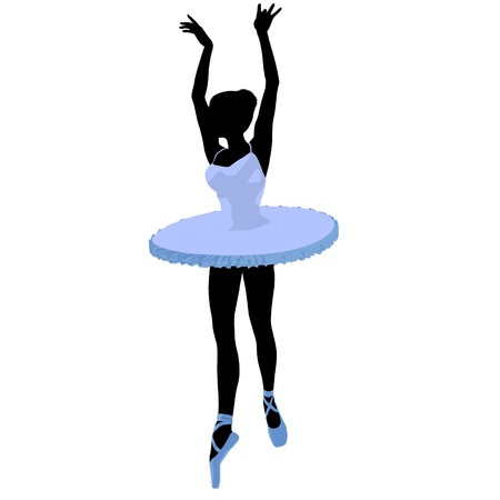 Ballerina silhouette on a white background Stock Photo - 7730605