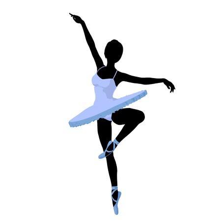 Ballerina silhouette on a white background Stock Photo - 7730587