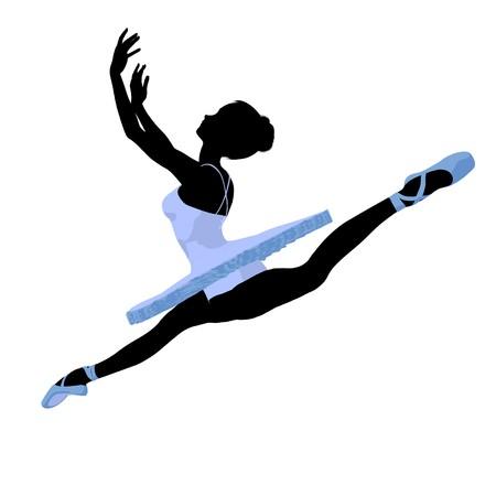 Ballerina silhouet op een witte achtergrond Stockfoto