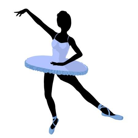 Ballerina silhouette on a white background Zdjęcie Seryjne - 7730902