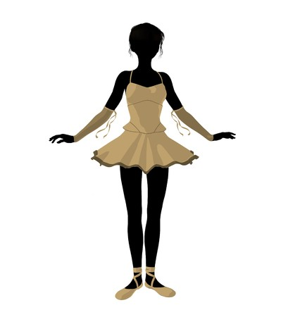Ballerina silhouette on a white background photo