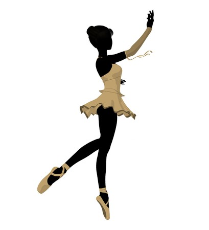 Ballerina silhouette on a white background Stock Photo